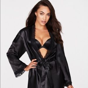 Frederick's of Hollywood Satin & Lace Belted Robe